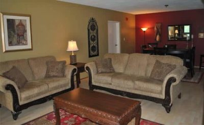 Sitting area in guest suite at Antiochian Village